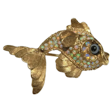 Goldfish Brooch Pin 14K Gold Australian Opal Natural White Opal Mid Century Jewelry Fish Pin Brooch Jewelry Gift for Women Her Birthday