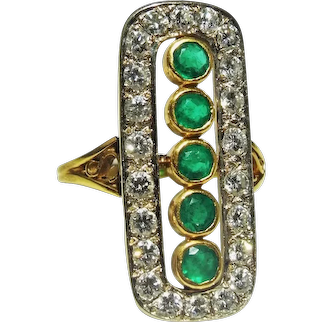 Art Deco 1920s Colombian Emerald Diamond 18K Gold Panel Ring Long Antique Gold Ring Emerald Engagement Ring Antique Emerald Diamond Ring