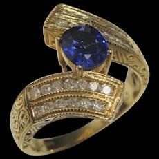 No Heat CORNFLOWER Blue Natural Sapphire Diamond Ring 14K Yellow Gold Cross Over Engagement Unique Ceylon Sapphire Band Wedding