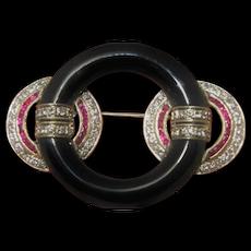 Art Deco 1930s Ruby Diamond Onyx Brooch Pin 18K White Gold Knot Circle Bullseye Motif Antique Ruby Clips Jewelry Estate Rubies Diamonds