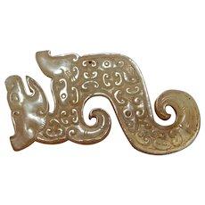 400 BC Jade Dragon Amulet Carved Nephrite Jade Pendant Warring States Jade Dragon Piece Eastern Zhou Jade Archaic Jade Ancient Chinese China
