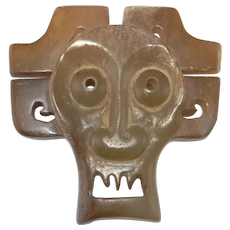 2200 BC Qijia Chinese Antique Jade Deity Pendant Amulet Archaic Jade Shijiahe Culture Ancient China Jewelry Asian Art Artifacts Jade Mask
