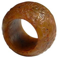 12th C Song Dynasty Chinese Antique Jade Ring Banzhi Thumb Ring Carved Yellow Jade Ring Ancient Chinese Archers Ring Antiquities