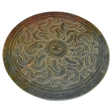16th C MING JADE MIRROR Model Chi Tiger Green Nephrite Jade Disc Ornament Chinese Antique Mirror Archaistic Jade Statue Chinese Artifacts Antiques Asian Art