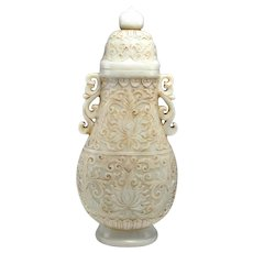 18th C WHITE NEPHRITE JADE Lidded Vase Qianlong Qing Dynasty Hand Carved Antique Jade Vase Nephrite Vase Carving Statue Chinese Antiques