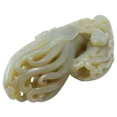 18th Century Jade Citron Lady Finger Citron Buddhas Hand Nephrite Jade Carving Statue Antique Chinese Celadon Jade Qing Dynasty Qianlong Statue Ornament Sculpture Decoration