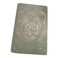 Chinese Antique Jade Pendant Amulet Phoenix Dragon Amulet Elephant Qing Dynasty Jewelry Art Celadon Nephrite Jade Qing Dynasty Jade