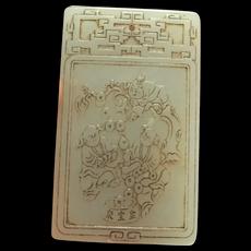 Money Tree Pendant Antique Jade Pendant Lucky Jade Amulet Qing Dynasty 18th Century Jewelry Chinese Jade Jewelry Jade Plaque Pendant Cameo