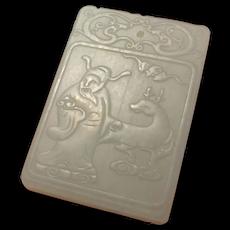 Jurojin God of Longevity & Wisdom Jade Amulet Inscription Antique Chinese Lucky God Deity Pendant Jurojin Deer Amulet Jewelry Long Life