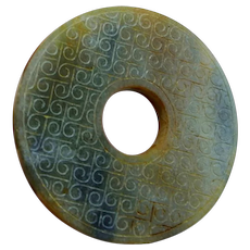 Qing Dynasty Jade Bi Disc Carved Nephrite Jade Disc Green Jade Bi Disc Grain Pattern Archaistic Chinese Jade Chinese Antiques Unisex Pendant
