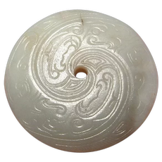 ANCIENT ARCHAIC Jade Bi Disc Western Zhou Dynasty Jade Disc White Jade Carved Disc Chinese Artifacts Ancient Carving Ritual Amulet Talisman Unisex Nephrite Jade