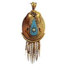 Etruscan Revival Jewelry Victorian Tassel Pendant Pinchbeck Pendant Jewelry Antique Pinchbeck Blue Enamel Antique Pendant Antique Pearl Sentimental Bridal Blue and White Fringe Foxtail Pendant