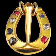 Georgian 15K Gold Foil Backed Back Rose Cut Diamond Lucky Horseshow Pendant