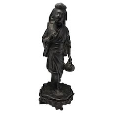 Okimono Meiji Japanese Bronze Japanese Bronze Statue Antique Japanese Statue Woman Beautiful Woman Statue Sculpture 19th Century Japan