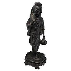 Okimono Meiji Japanese Bronze Japanese Bronze Statue Antique Japanese Statue Woman Beautiful Woman Statue Sculpture 19th Century Japan