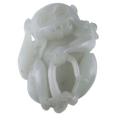 Antique Carved Jade Monkey Nephrite Pebble Pendant Chinese Antique Jade Carvings Zodiac Animal Auspicious Clever Statue Carving Qing Dynasty