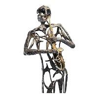 Saxophone Player Brutalist Bronze Sculpture Modernist Bronze Sculpture Statue Saxophone Art Music Sculpture Bronze Mid Century One of a Kind