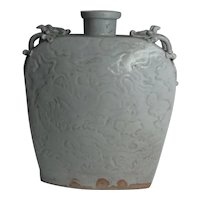 1279–1368 AD Yuan Qingbai Flask Dragon Decoration Stoneware Pottery Ceramic Ancient Chinese Dynasty Art of China Asia Artifacts Antique