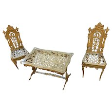 Doll house furniture in gold lead