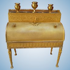 Rare diminutive of gilt brass secretary of the early nineteenth century