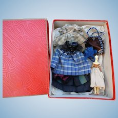 Very rare Grodnertal doll with his trousseaux