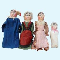Suite of four papier maché dolls circa 1840