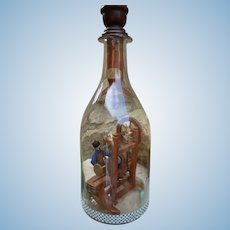 Grodnertal doll contained in a bottle