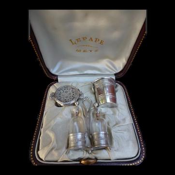 Rare case containing miniature silverware.