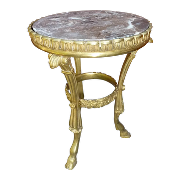 Rare miniature bronze pedestal table in HURET style