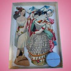 "Circa 1835,Extremely Rare French Paper Doll Set"" TAGLIONI"" in original Box"