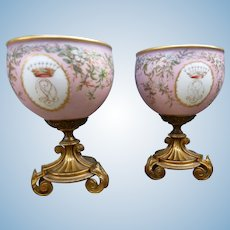 Pair of miniature jardinieres in Paris porcelain