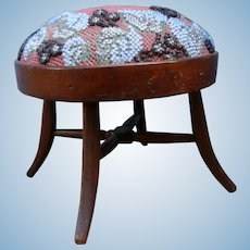 Miniature stool furnished with a beaded tapestry