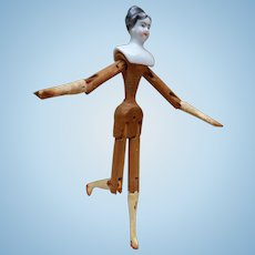 Doll body articulated wood middle nineteenth century
