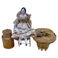 Golden brass group for Parisian doll decor