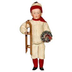 EXTRAVAGANT CANDY CONTAINER - A Rare and Large Gebruder Heubach Holiday Doll