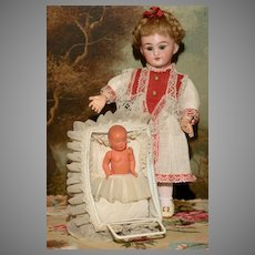 MATRIX STOCKING STUFFER !!  A Bluette Era Doll Carriage with Original French Celluloid Baby