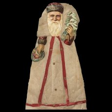 "MATRIX STOCKING STUFFER !!  Unusually Large 17"" Victorian Cotton Batting and Die Cut Santa Claus"