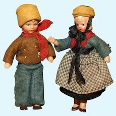 MATRIX STOCKING STUFFER!!  All Original Mint Pair of German Painted Bisque Doll House Dolls in Winter Wear.