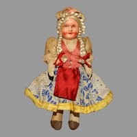 Colorful All Original Hungarian Doll  signed 'Hungary'