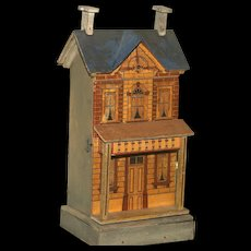 A Shelf Size Gottschalk Blue Roof Doll House