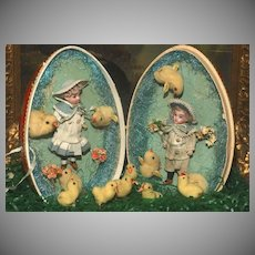 Deluxe Boutique Presentation Easter Egg with TWO BISQUE DOLLS !