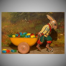 "Marx  6"" Tin Easter Rabbit Pulling a Cart - CANDY CONTAINER"
