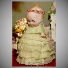 """Rare 4.5"""" Rose O'Neill KEWPIE FLOWER GIRL  with Painted Silver Slippers"""