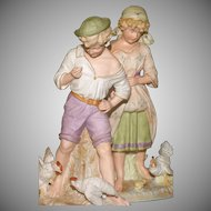 "Grand Pair of Stately 15"" Gebruder Heubach  PASTORAL FIGURINES"