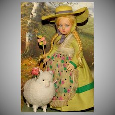 """A 14"""" Scarce Lucia LENCI GIARDINIERE  Bright and Cheerful with Her Lamb !"""