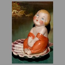 """VERY RARE 5"""" German All Bisque ' TISS ME '  Bathing Beauty"""