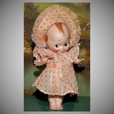 "A  Rare LARGE 10.5"" Kewpie Mint and Signed in her PERIOD CLOTHES !"
