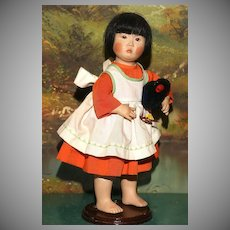 "Niada Artist Joyce Stafford 12.5"" tall ASIAN PORTRAIT CHILD with 2 labels and Bisque Head"