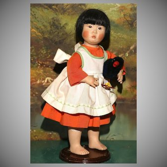 """Niada Artist Joyce Stafford 12.5"""" tall ASIAN PORTRAIT CHILD with 2 labels and Bisque Head"""