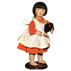 Niada Artist Joyce Stafford ASIAN PORTRAIT CHILD with 2 labels and Bisque Head